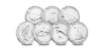 Six Coastal Wildlife Uncirculated 10p Coins