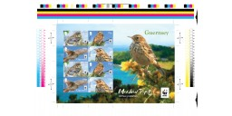 Meadow Pipit Uncut Imperforate Souvenir Sheet of 8