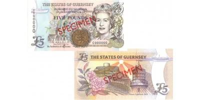 £5 D.M. Clark signatory Guernsey Bank Note