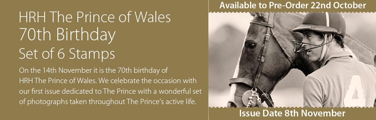 根西岛11月8日发行威尔士亲王70岁生日邮票