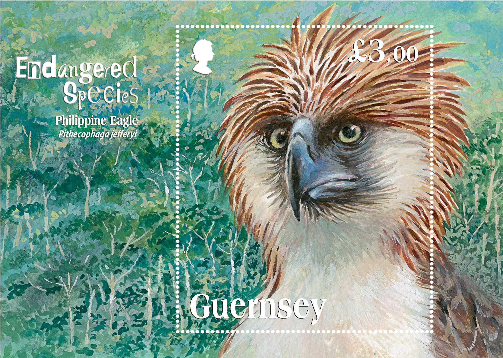 Critically endangered species depicted on stamp