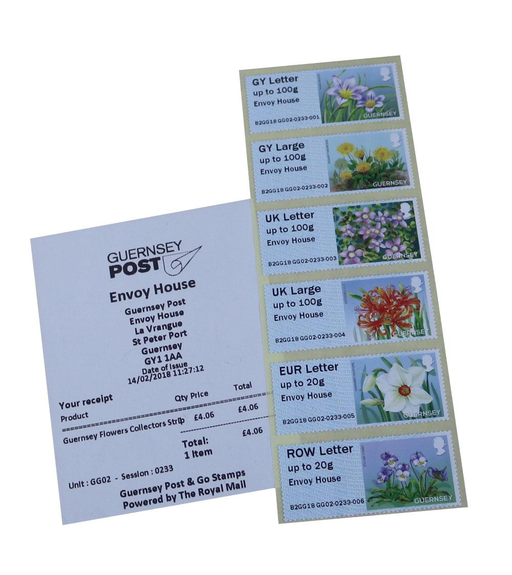 根西岛电子邮票(花卉)2月14日加字Envoy House