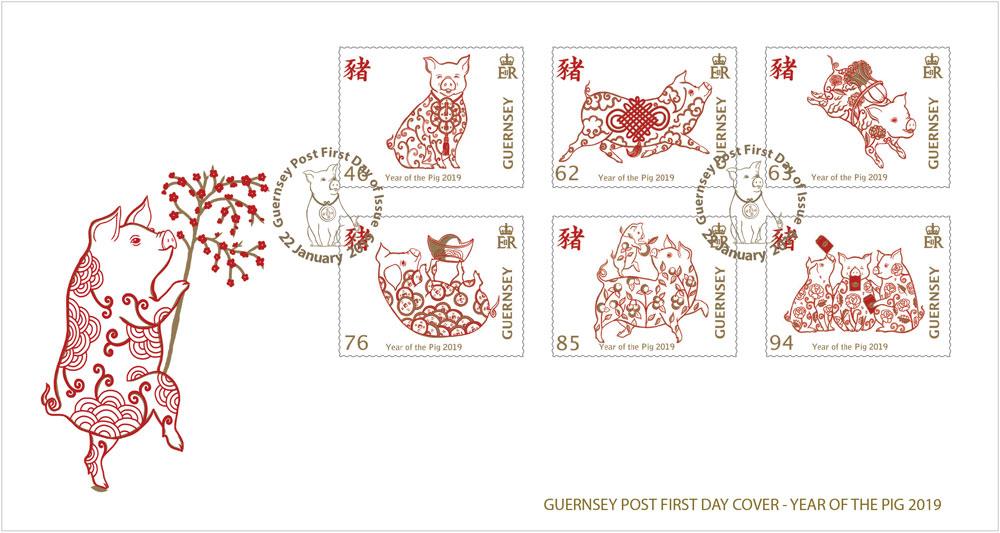 根西岛1月22日猪年邮票纪念邮戳