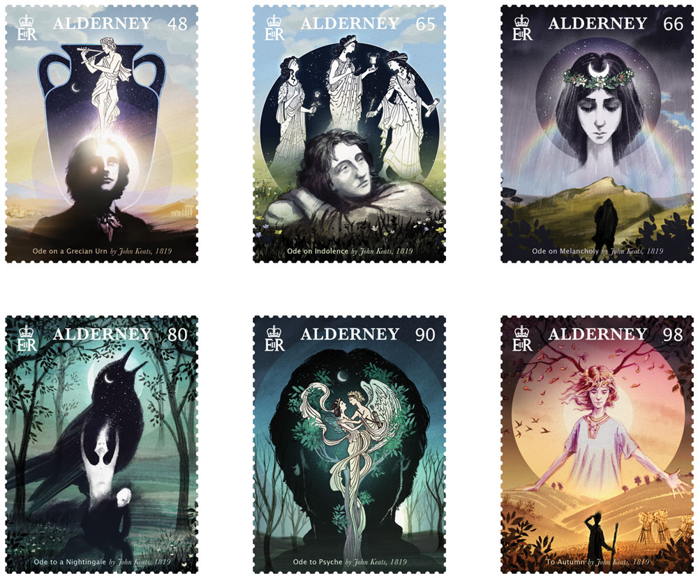 Stamps to commemorate 200th Anniversary of publication of John Keats's Odes