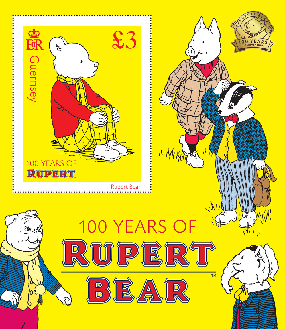 Guernsey stamps celebrate Rupert Bear centenary