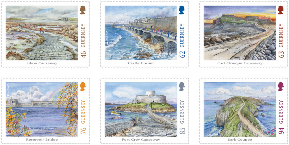 Guernsey's Causeways and Bridges depicted on Europa Stamps