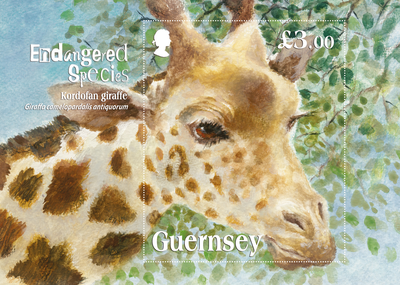 Miniature sheet depicts critically endangered Kordofan Giraffe