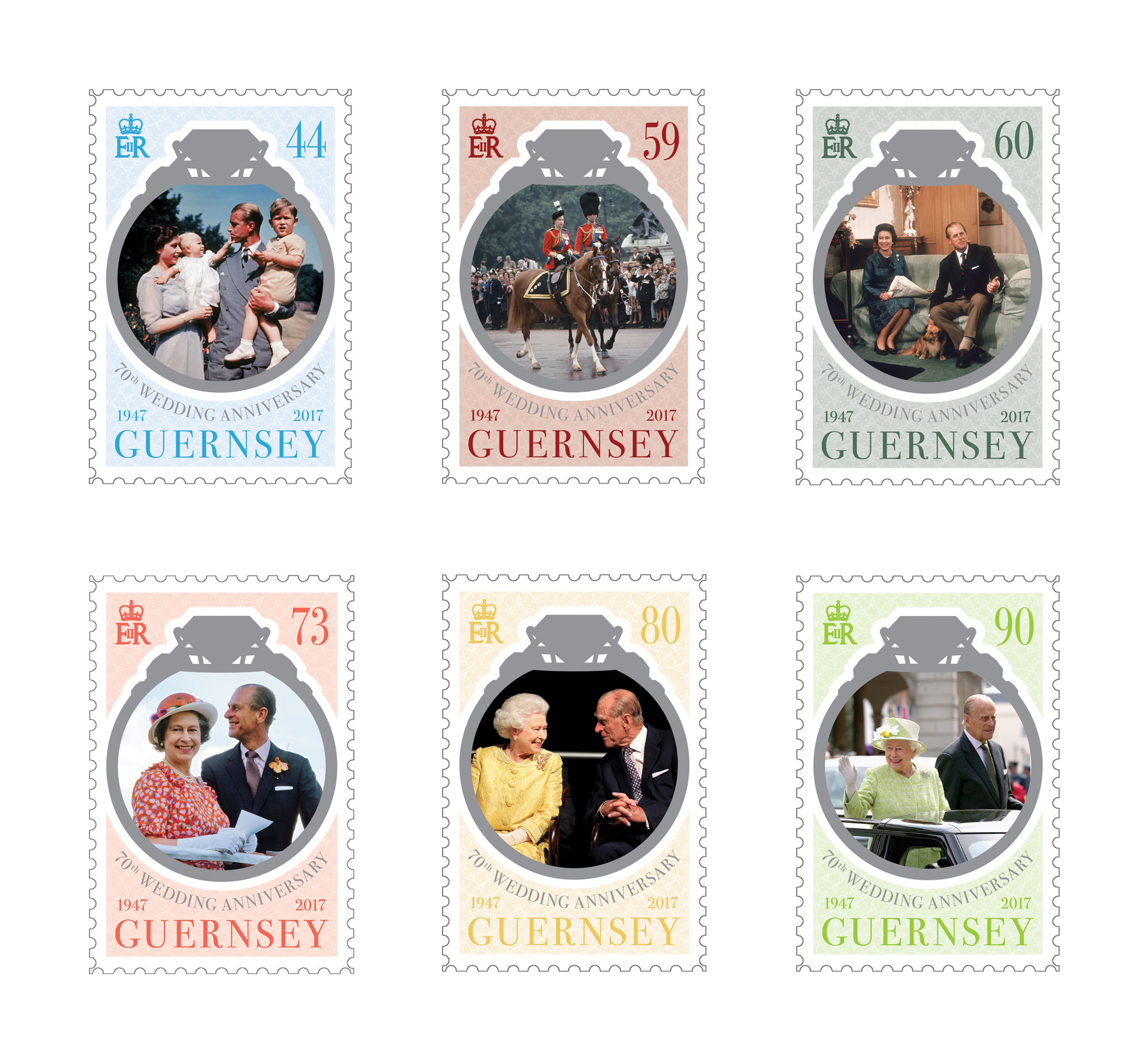 Stamps commemorate the 70th Wedding Anniversary of The Queen and The Duke of Edinburgh
