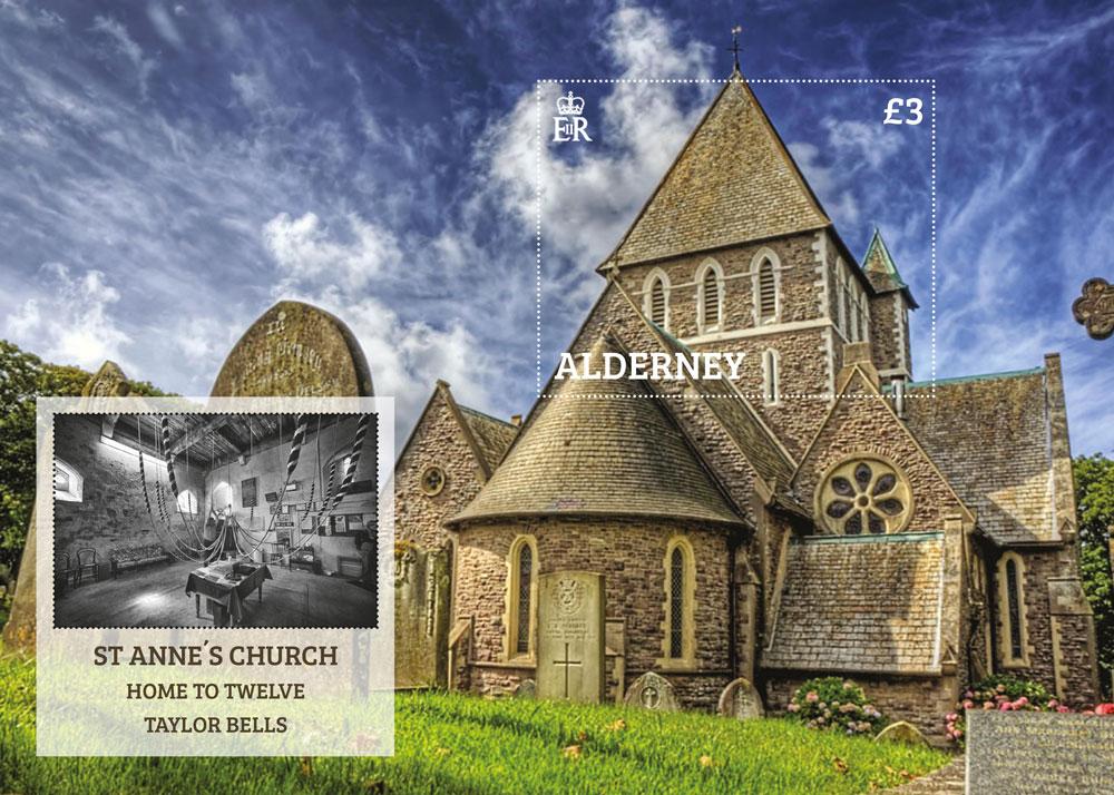 奥尔德尼10月28日发行圣安妮教堂小型张