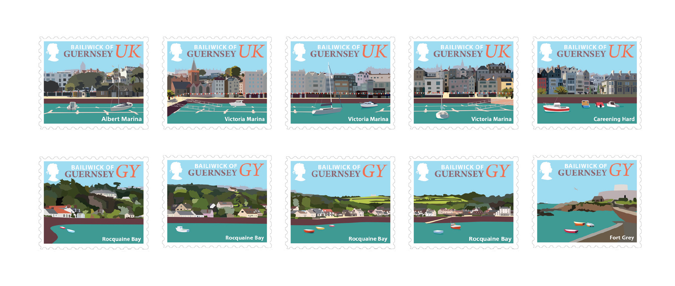 Guernsey's self-stick stamps feature Island coastal scenes
