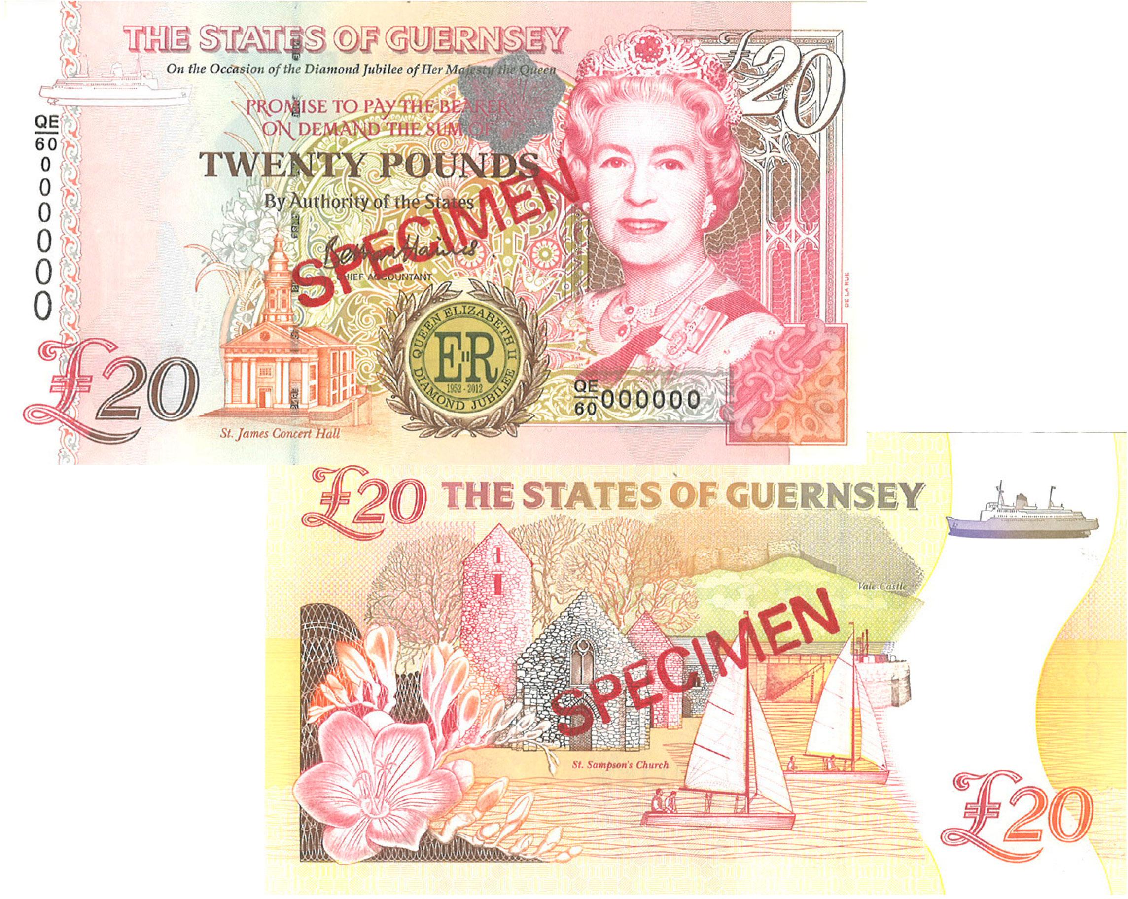 £20 Diamond Jubilee Guernsey Bank Note - B. Haines signatory