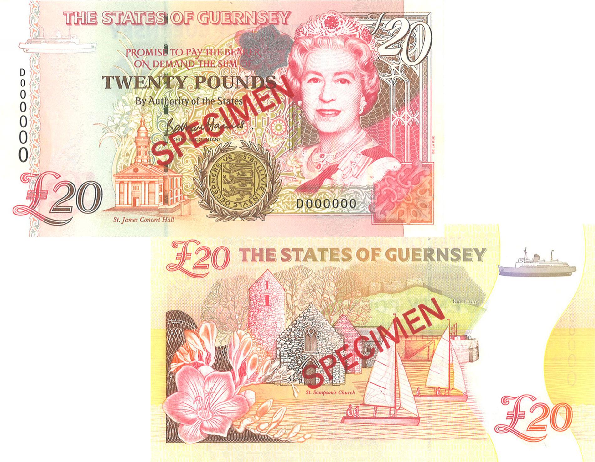£20 'D' Prefix - B. Haines signatory Guernsey Bank Note