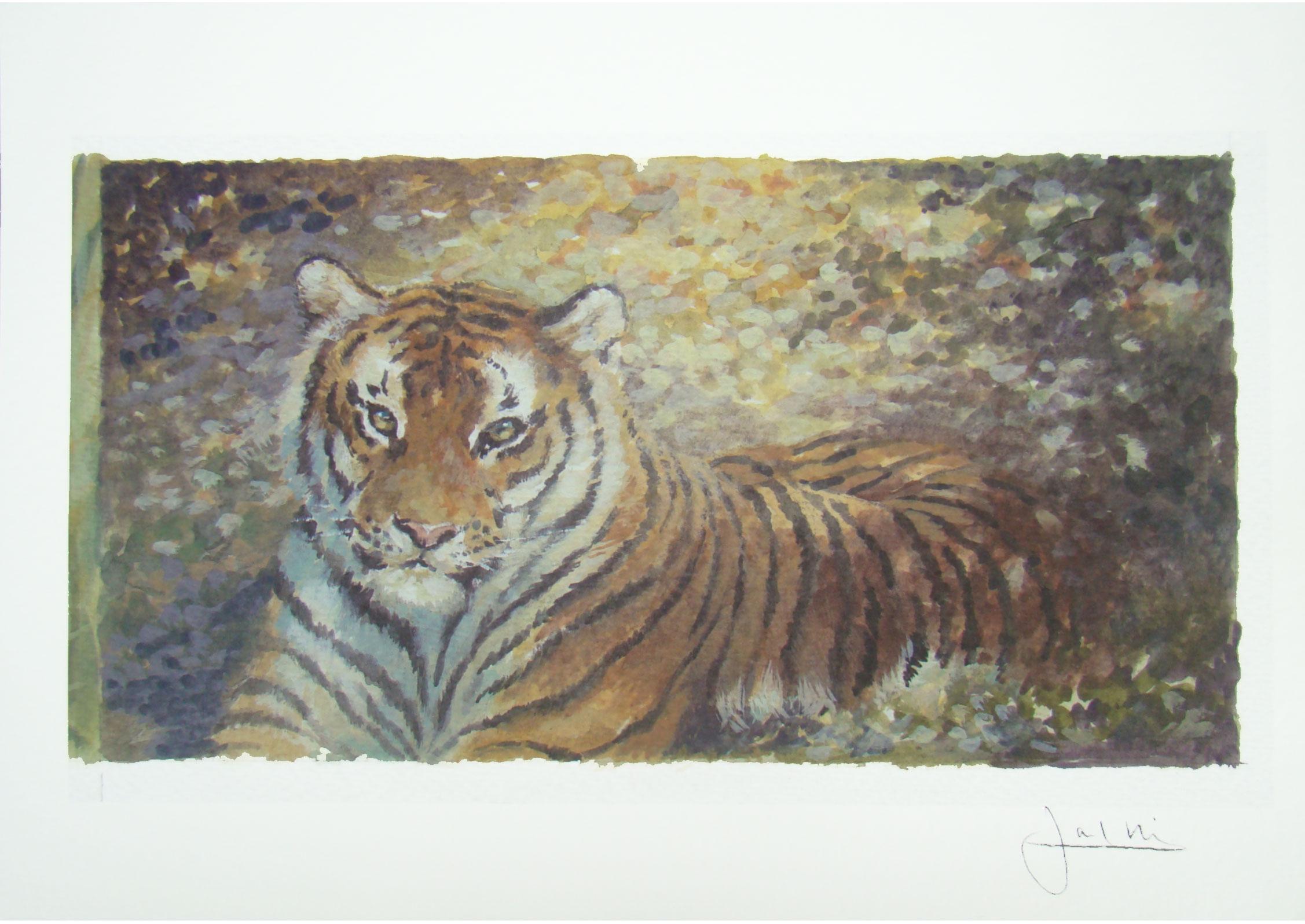 Joel Kirk Print - Bengal Tiger in brown leaves